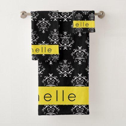 Your Name - Damask Ornaments - Black Yellow Bath Towel Set - white gifts elegant diy gift ideas