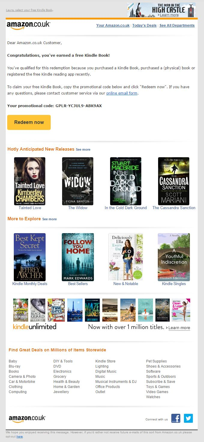 Check out amazon page for all offers coupon codes promotions deals - Free Kindle Book Offer From Amazon Including Product Recommendations Emailmarketing Email Marketing Email Marketingcoupon Codes Kindleretailamazons