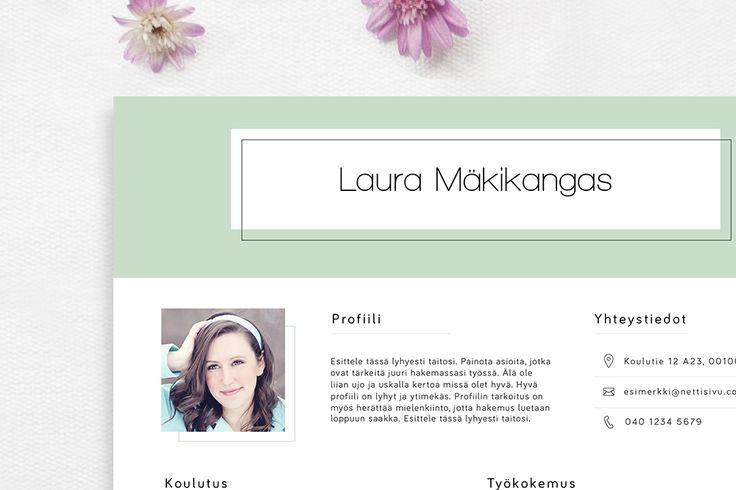 cv pohja | cv malli | Laura |  CVpohja.fi    Laura-pohja antaa ammattimaisen ja osaavan kuvan hakijasta. Pohjan kielitaito-kohta on toteutettu visuaalisesti ja yleisilmeestä on tehty mahdollisimman selkeä. Erittäin toimiva pohja myös tulostettuna.