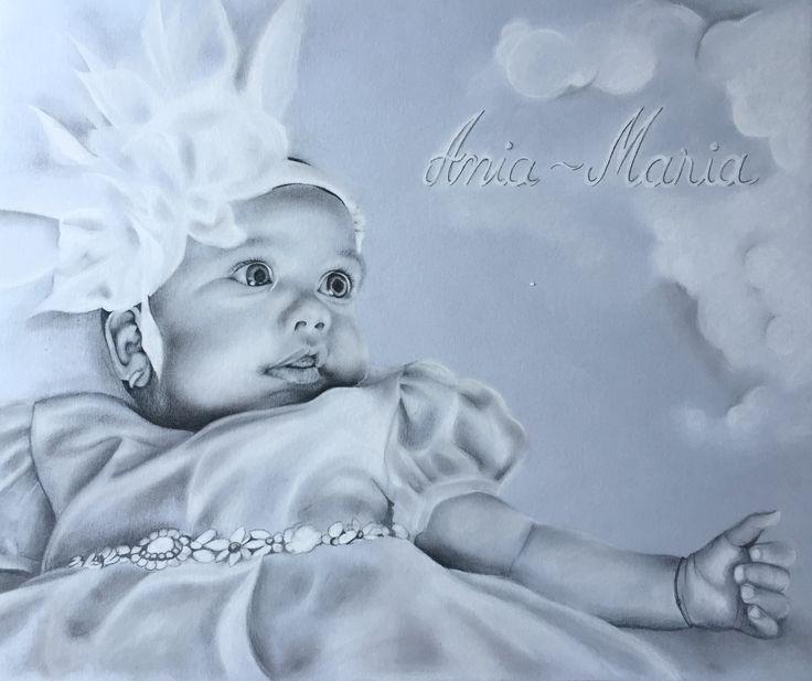 Baby girl pencil portrait bw black&white innocence childhood drawing