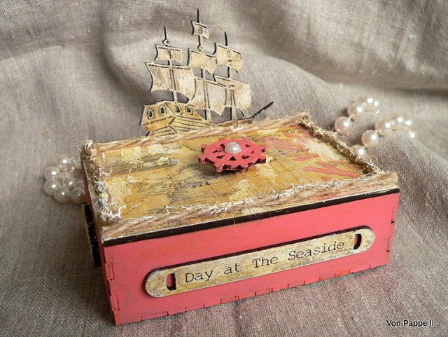 """I can't get enough of ocean themed projects at the moment! This time I am sharing one of Calico Craft Parts' lovely """" Trinket Boxes """" in nau..."""