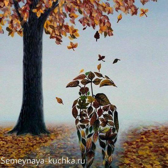 аппликация мозаичная из листьев