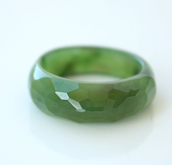 Jade Ring  Nephrite Jade Ring  Faceted Ring by jadepeony on Etsy, $100.00