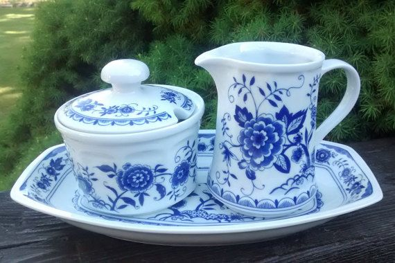 Vintage BLUE Onion German KAHLA Blue Cream & Sugar Set with