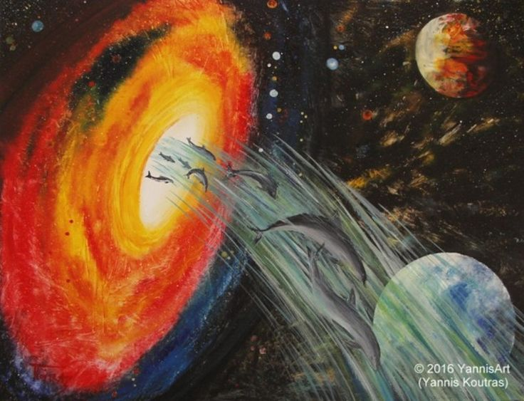 Dolphins in Space – Acrylic on Canvas  http://yannisart.webnode.com/