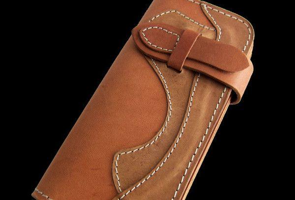 Handmade beige men leather biker wallet multi cards Long wallet clutch for men