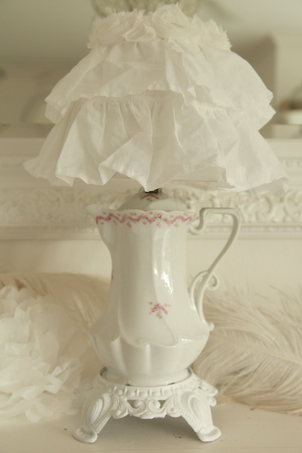so cute not my style but I do like it   Beautiful Original Antique Chocolate Pot Lamp And Ruffle Shade