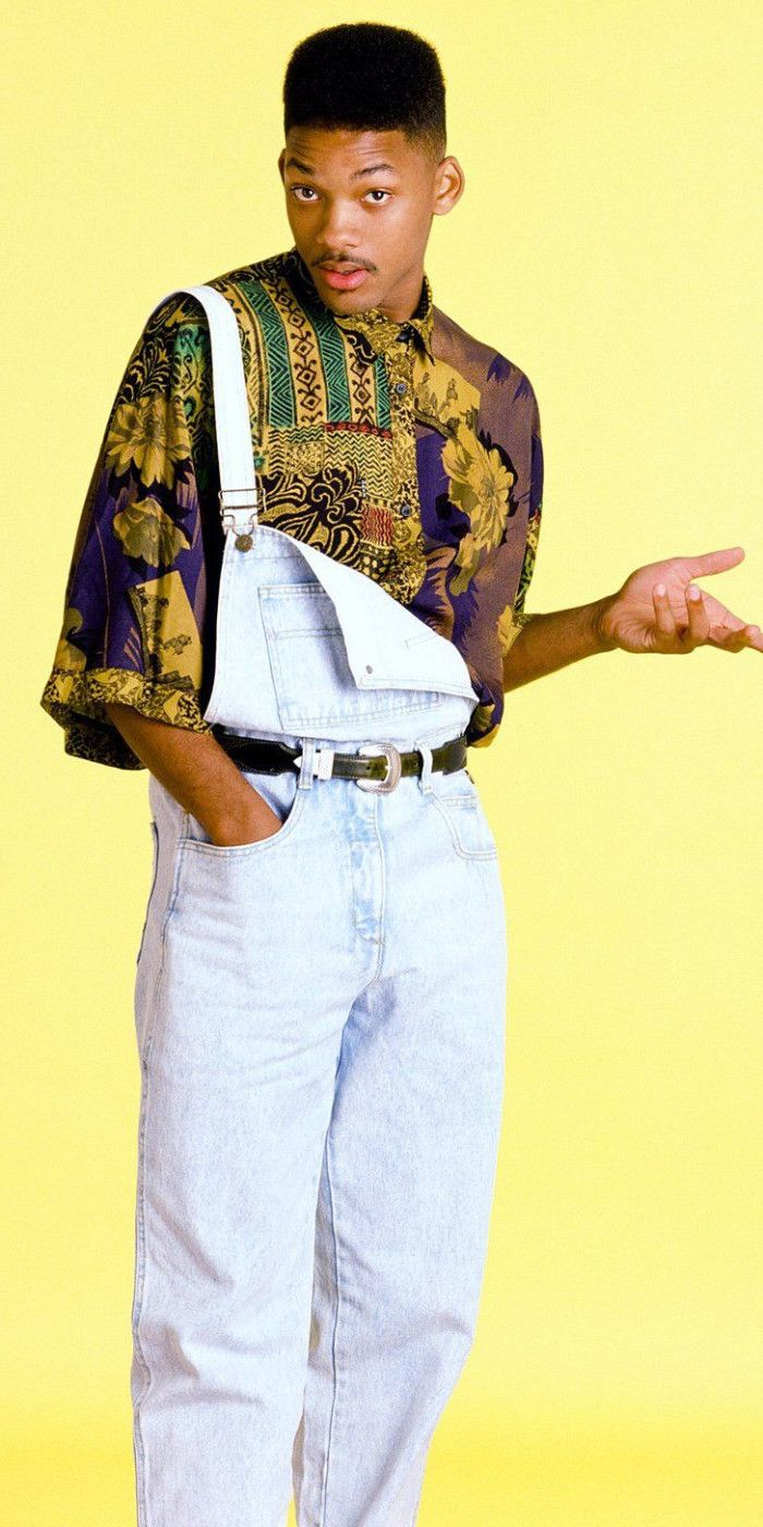 b9605532993 the fresh prince of bel air, will smith dressed in retro clothes,  multicolored oversized shirt, and 90s overalls