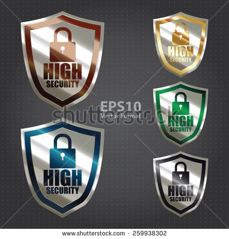 vector : silver metallic high security badge, shield, sticker, sign, stamp, icon, label isolated on white