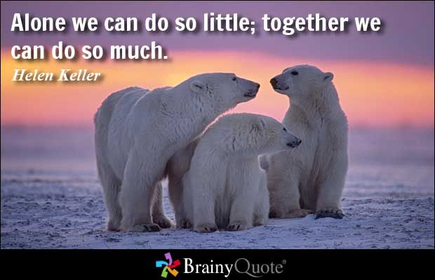 Alone we can do so little; together we can do so much. - Helen Keller  How true!