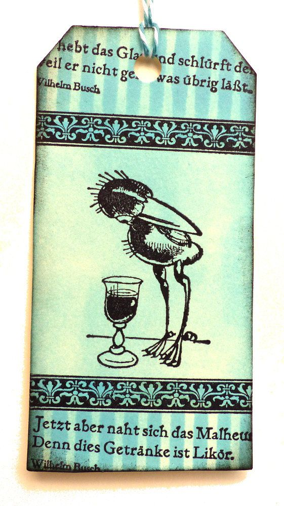 Bird rubber stamp / Raven eying a glass of liquor / by MAKIstamps