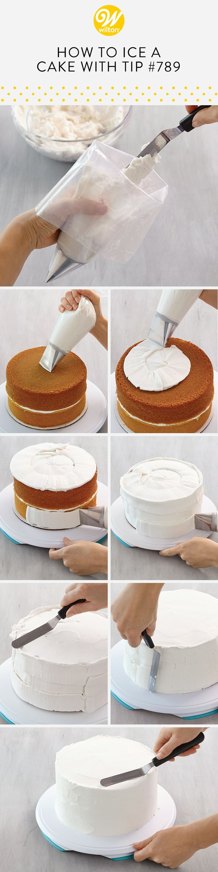 Using the cake icer tip, tip 789, makes covering a cake in buttercream simple! This tip allows you to get the perfect even coverage so you have the best surface to start decorating your cakes! #wiltoncakes #cakes #cakesofinstagram #cakestagram #cakestyle #cakesofig #cakesdaily #instacake #cakeoftheday #buttercream #frosting #buttercreamfrosting