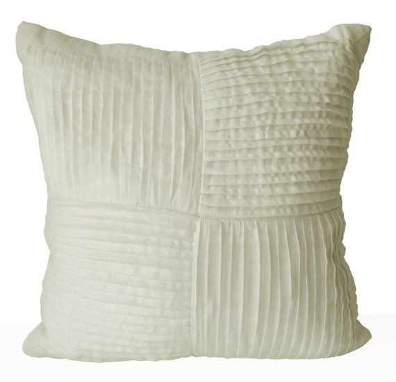 Decorative Pillow Cover -Ivory Pleated Linen Pillow Case -Textured Preimum Cushion -Gift -Soft ...