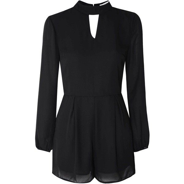 Black Chiffon Tie Neck Playsuit ($43) ❤ liked on Polyvore featuring jumpsuits, rompers, black, black romper, black cut out romper, black long sleeve rompers, cutout romper et chiffon romper
