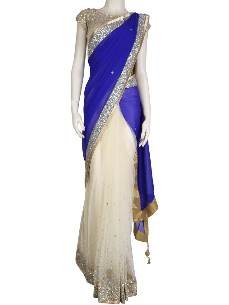 G3 Fashions Beautiful blue georgette half and half saree Products code : G3-WSA2363 Price: ₹ 15495.00
