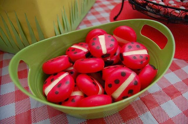Kids Picnic Party Idea: Babybel Cheese decorated to look like little ladybugs! / Between Tea and Coffee