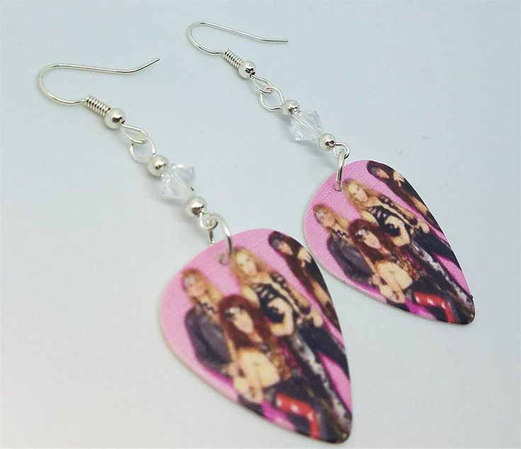 Steel Panther Group Picture Guitar Pick Earrings with Clear Swarovski Crystals
