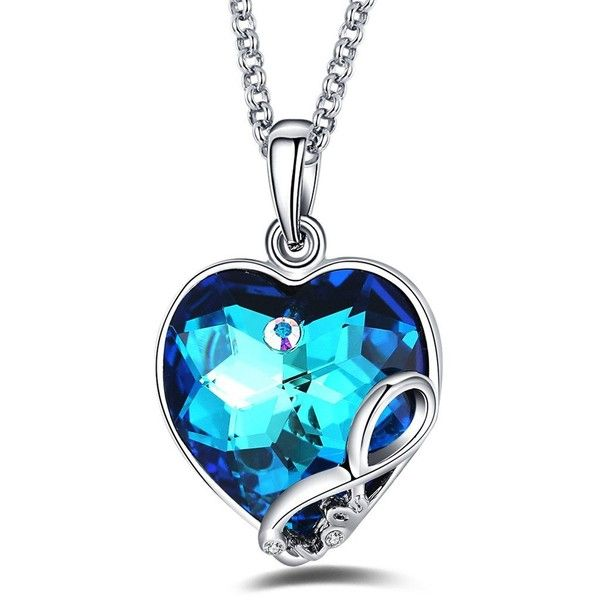 """Foruiston """"Heart of the Ocean"""" SWAROVSKI Crystal Infinity Pendant... ($11) ❤ liked on Polyvore featuring jewelry, necklaces, swarovski crystal pendant necklace, infinity pendant, engraved necklaces, pendant necklaces and engraved heart pendant"""