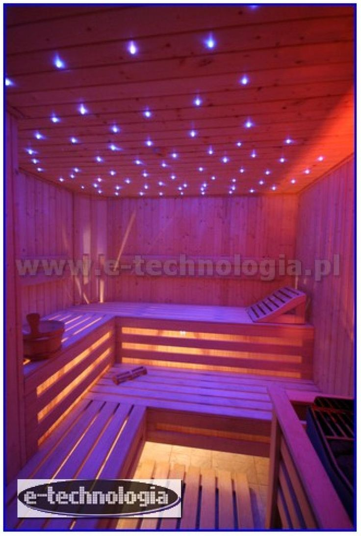 Lights do Finnish sauna weight version An extremely elegant and decorative. The lighting in the Finnish Sauna mount in suficie shining scales Different colors. The whole project did realize, using fiber optic lighting kits Companies E-technology. The lighting in the Finnish Sauna Form starry sky, adapted to make conditions in the Sauna. This type of lighting works well in the sauna, creating amazing atmosphere.  www.e-technologia.pl