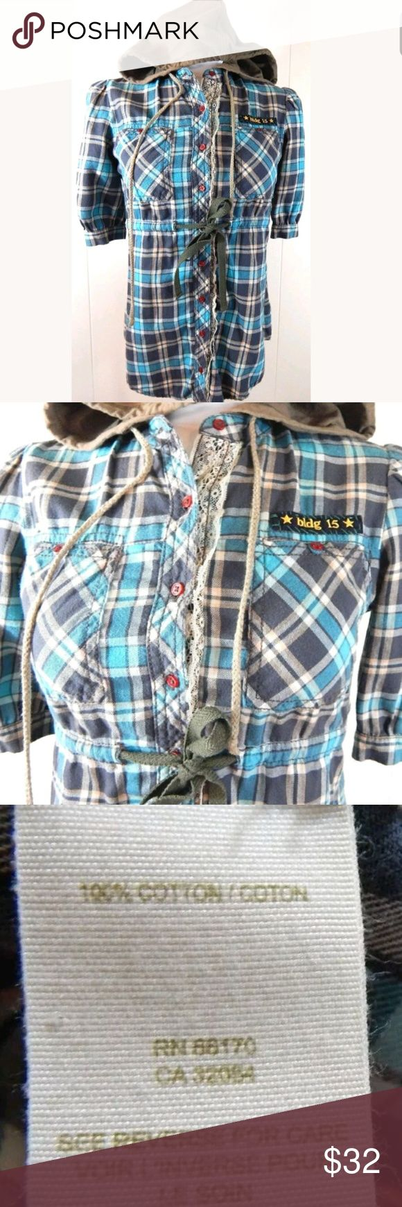 """Free People Hooded Plaid Flannel Shirt Plaid hooded short sleeve flannel by free people. Button front style with lace and patch details. Grungy style reminiscent of scouts and summer camp. Size 2, 35"""" bust and 24"""" length. 100% cotton. Gently loved with minimal wear. No trades. Free People Tops Button Down Shirts"""