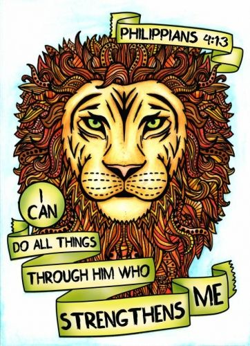"""Philippians 4:13 lion scripture coloring page from """"Words of Strength"""" Adult Coloring Book. Colored by Michelle HH"""