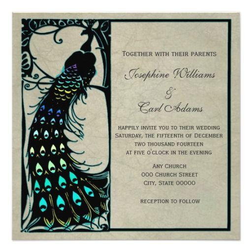 Een mooie de pauwillustratie die een silhouet met sommige toegevoegde wintertaling, greens, en blauw is.  De achtergrond is een oude perkamentstijl.  Perfectioneer voor informele of formele huwelijken!