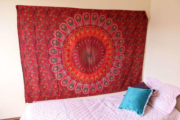 tassel - Fogo Vermelho Mandala  Manta Indiana Mandala Boho ☽ ✩  Decoração Gipsy , Decoração Boho , Colcha Indiana, Indian Tapestry, Indian Decor, Boho Deco