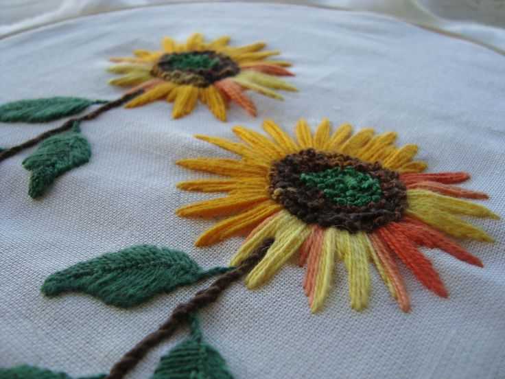 Hand Stitching Embroidery Sunflowers Daisy Floral Patterns Sewing Projects Prints Margarita Flower