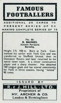 1939 R & J Hill Famous Footballers Series 2 #66 Reg Baines Back