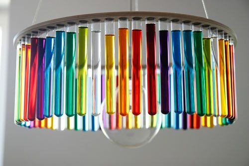 """Magda Jurek's """"Maria S.C."""" lamp  is an elegant, modernist-inspired chandelier made of test tubes that can be filled up with plain or coloured water, or even plants, to create one's own custom version. Photo courtesy of Magda Jurek"""
