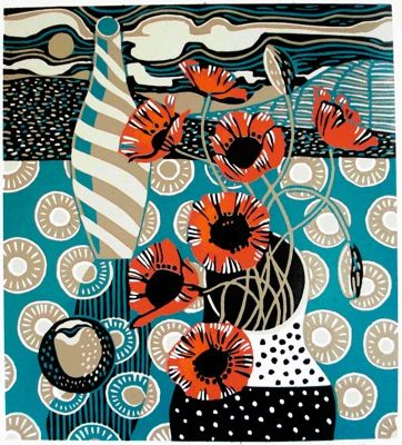 Poppies and Plum ~ Linocut Reduction ~ Jane Walker