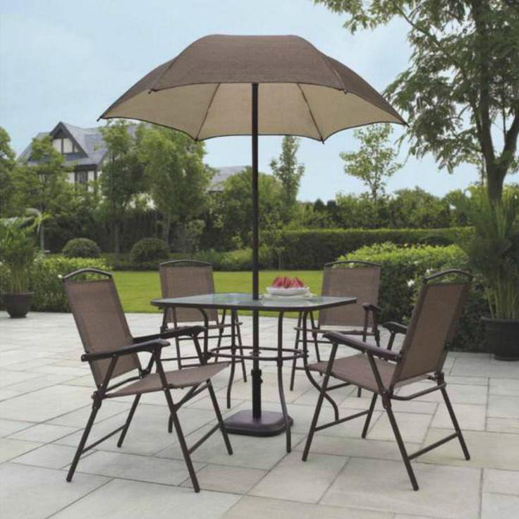 Patio Dining Furniture Garden Set With Umbrella Seats 4 Mainstays Sand Dune  6