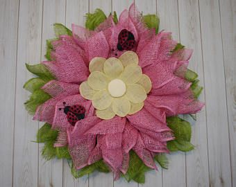 Venta día del trabajo, envío gratuito, corona del día de la madre, flor rosa mariquitas guirnalda, guirnalda de verano, la primavera corona, inauguración de la casa, el regalo de cumpleaños