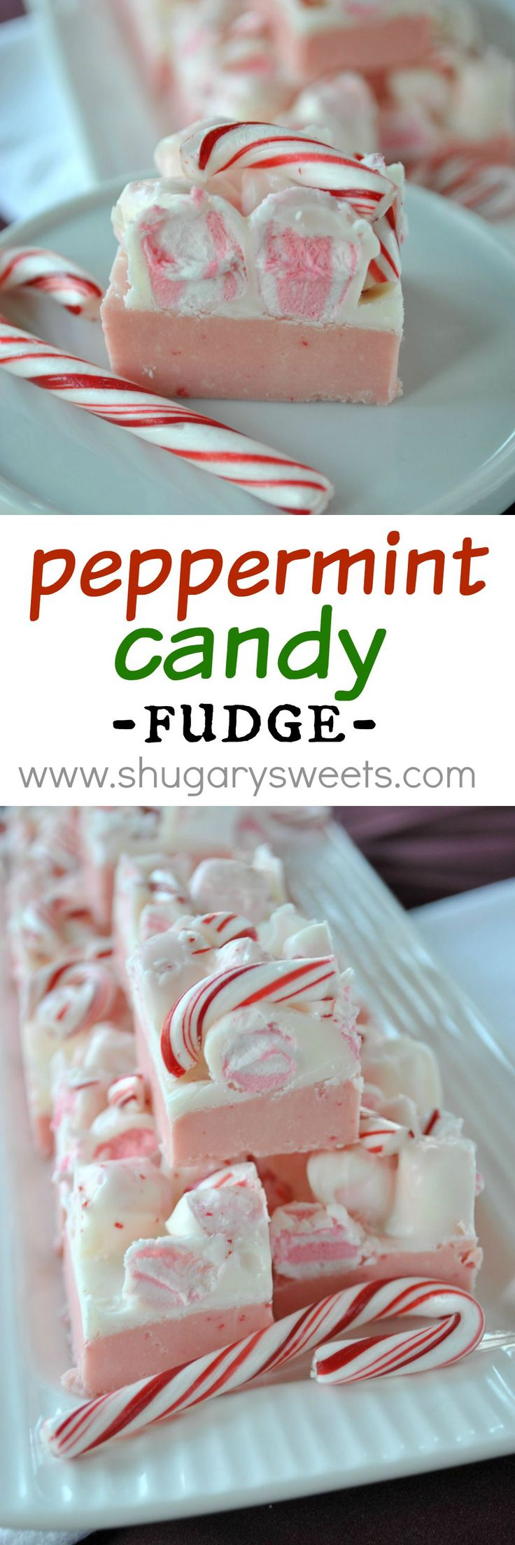 Peppermint Fudge : sweet layers of fudge with peppermint marshmallow and candy cane!