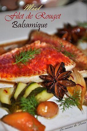 Filets de rouget poêlés et ses légumes marinés au miel et balsamique