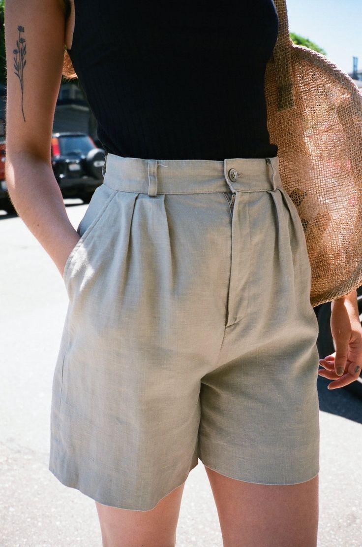 VINTAGE | Linen Shorts - Light Grey (6)
