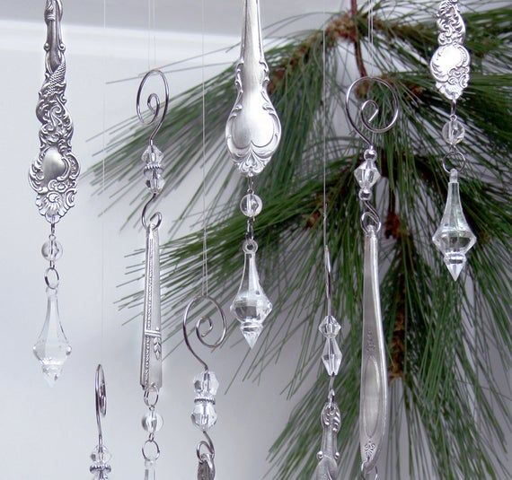 This Listing Is For A Set Of 2 Ornate Silver Spoon Clear Prisms Icicle Ornaments These Darling Icicle Ornaments Spoon Ornaments Christmas Tree With Gifts