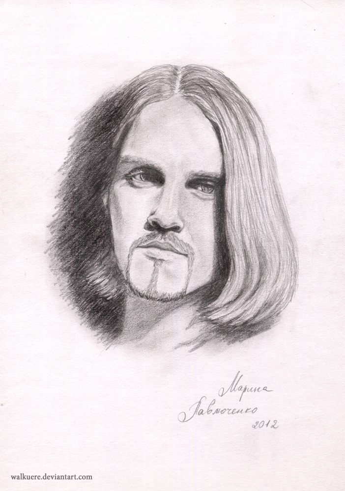 """Bottomless Eyes. Ivan Ozhogin. Russian actor of musicals (Graf von Krolock from """"Tanz der Vampire"""", Phantom from """"The Phantom of the Opera"""", Mankustrap from """"Cats"""", Romashov from """"Nord-Ost"""" and others).  А4, Pencil."""