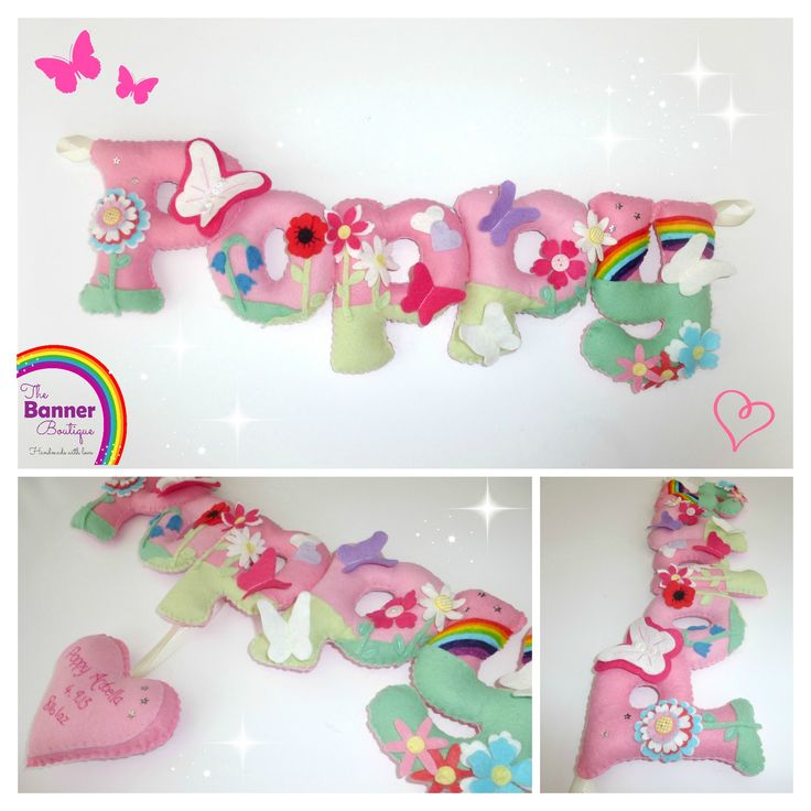 Felt name banner / chain / garland with flowers, butterflies and hanging heart birth details.