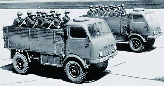 Tatra 805. These were 1.5 ton 4x4 trucks built between 1952 and 1960 for general service with the Czechoslovakian  Army