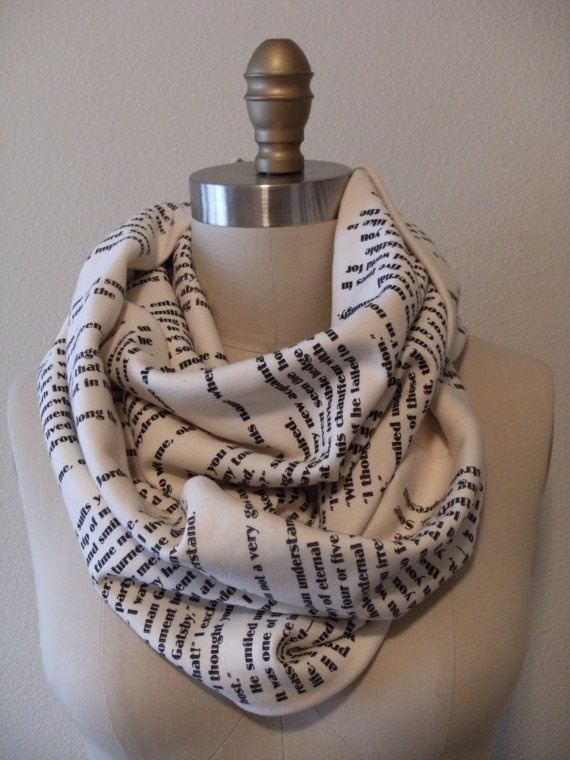 The Great Gatsby Book Scarf by storiarts on Etsy, $42.00
