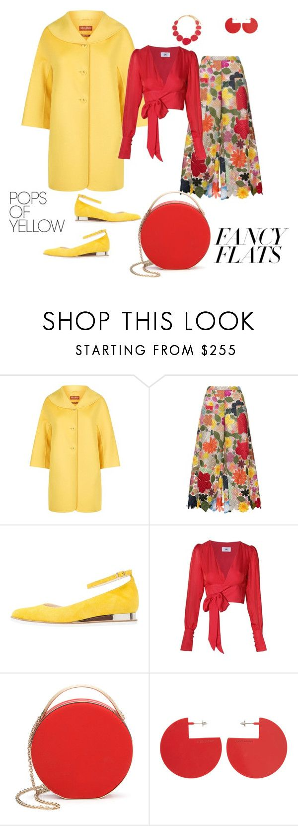"""# fancy flats# pops of yellow"" by andrea-jones-4 ❤ liked on Polyvore featuring MaxMara, Rosie Assoulin, Zign, LPA, 3.1 Phillip Lim, Isabel Marant, Kenneth Jay Lane, PopsOfYellow and NYFWYellow"