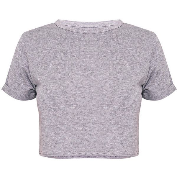 Basic Grey Roll Sleeve Crop T Shirt ($40) ❤ liked on Polyvore featuring tops, t-shirts, basic tees, gray crop top, rolled sleeve tee, basic tshirt and basicgrey