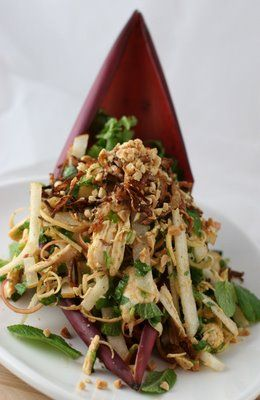 Banana blossom salad with chicken and asian pears