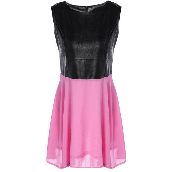 Chiffon Spliced PU Leather High Waist Dress ($18) ❤ liked on Polyvore featuring dresses, waist dress, pink dress, pu leather dress, pink chiffon dress and leatherette dress