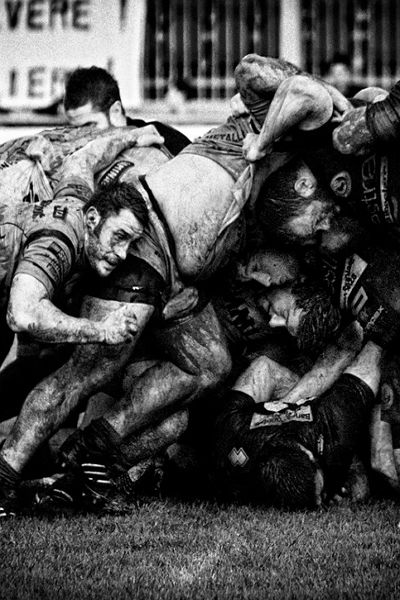 rugby scrum by Daniele Bettazzi it aint pretty but no place id rather play
