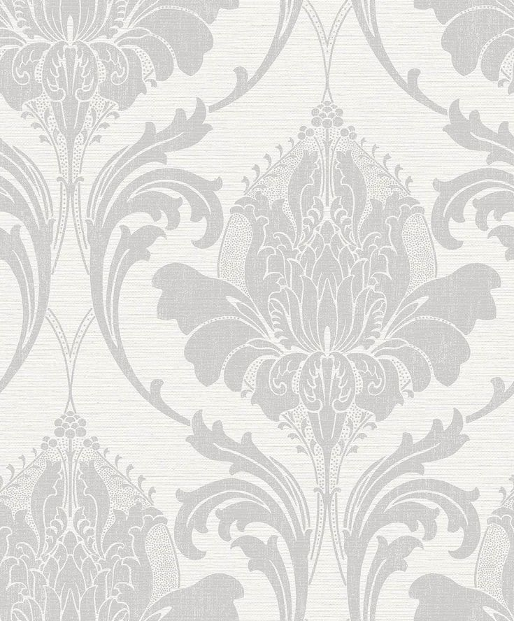 Simple and elegant, this Art Nouveau-inspired grey damask wallpaper is an understated shade, ideal for those who want to create a calming ambience in their rooms.  Printed on a linen look background and offering a pearlescent sheen, Zahra is simply stylish.