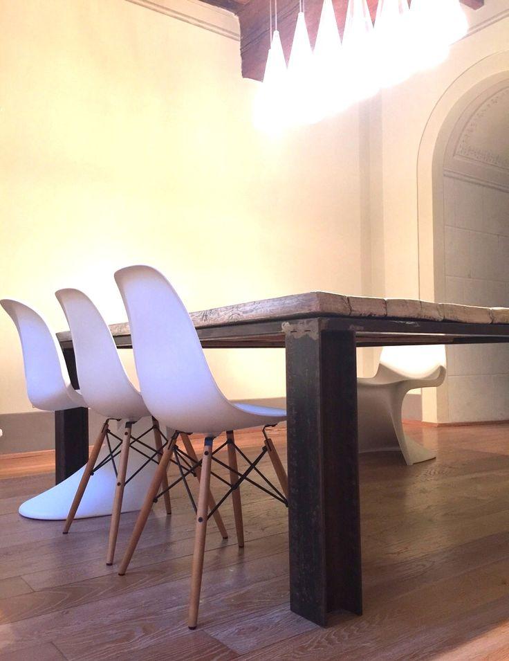 Tavole Da Cucina : Tavolo industriale creato con longherine in ferro grezzo