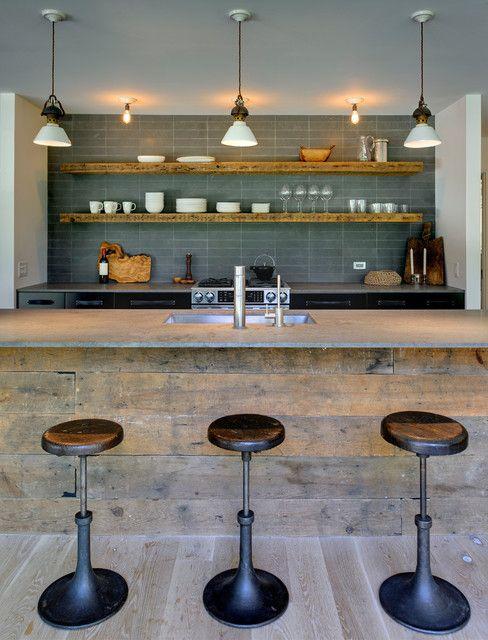 reclaimed wood looking bar, great blue tiles