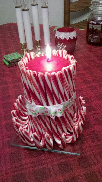 DIY Candy Cane decorative candle